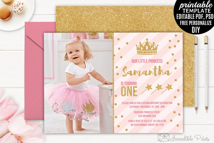 Save Little Princess Birthday Invitation