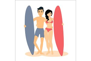Man and woman with surfboards