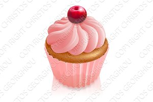 Pink fairy cake cupcake with cherry