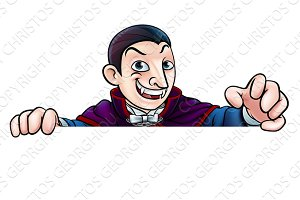 Cartoon Halloween Vampire Peeking Over Sign