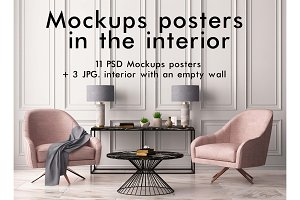 Mockups posters in the interior