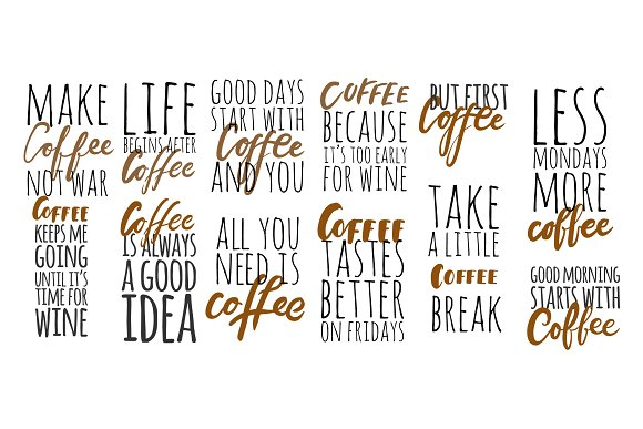 Coffee Quotes | 12 Coffee Quotes Illustrations Creative Market
