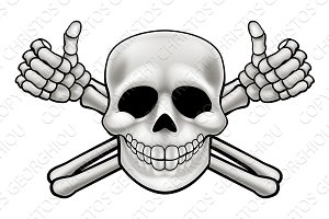 Cartoon Skull and Thumbs Up Crossbones