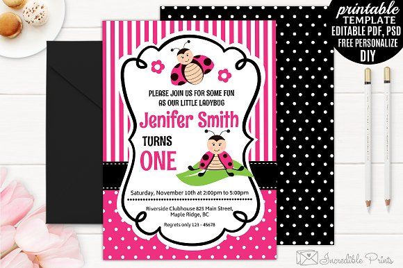 ladybug girl birthday invitation invitation templates creative