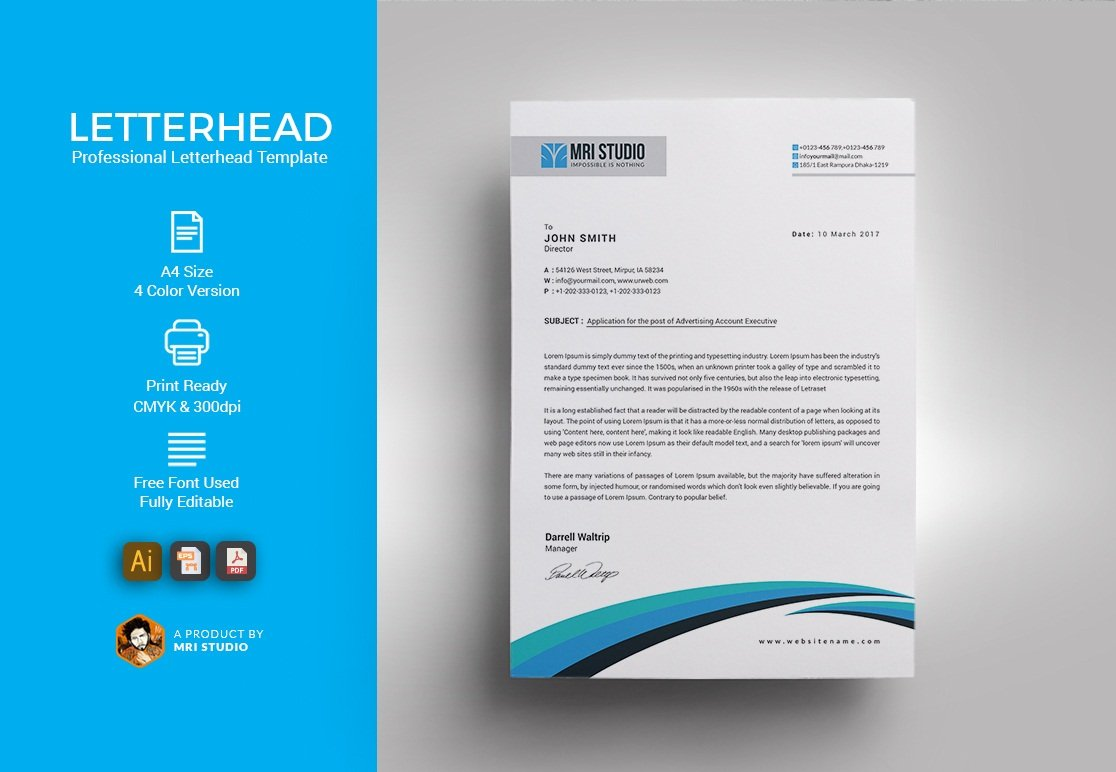 Simple letterhead template templates creative market spiritdancerdesigns Gallery