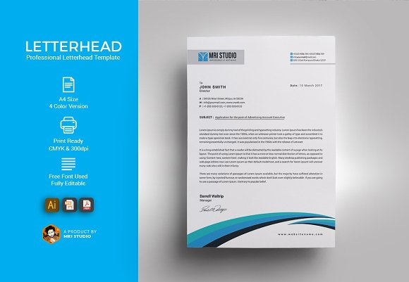 Simple letterhead template templates creative market altavistaventures Gallery