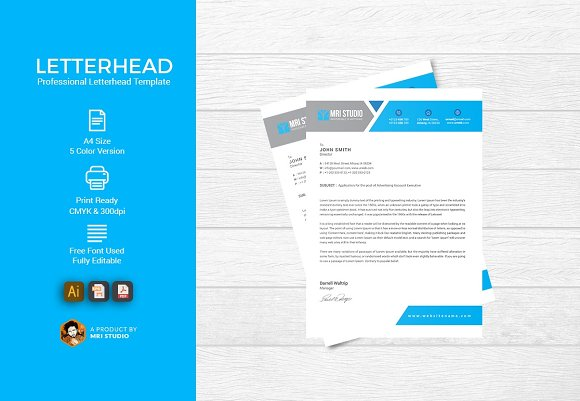 Simple letterhead template stationery templates creative market simple letterhead template spiritdancerdesigns Choice Image