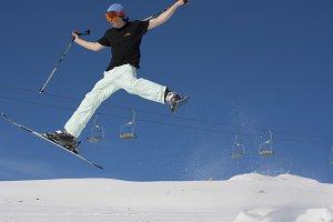 Skiing and jumping