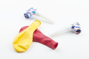Balloons and party items on white background. Isolated. Background.