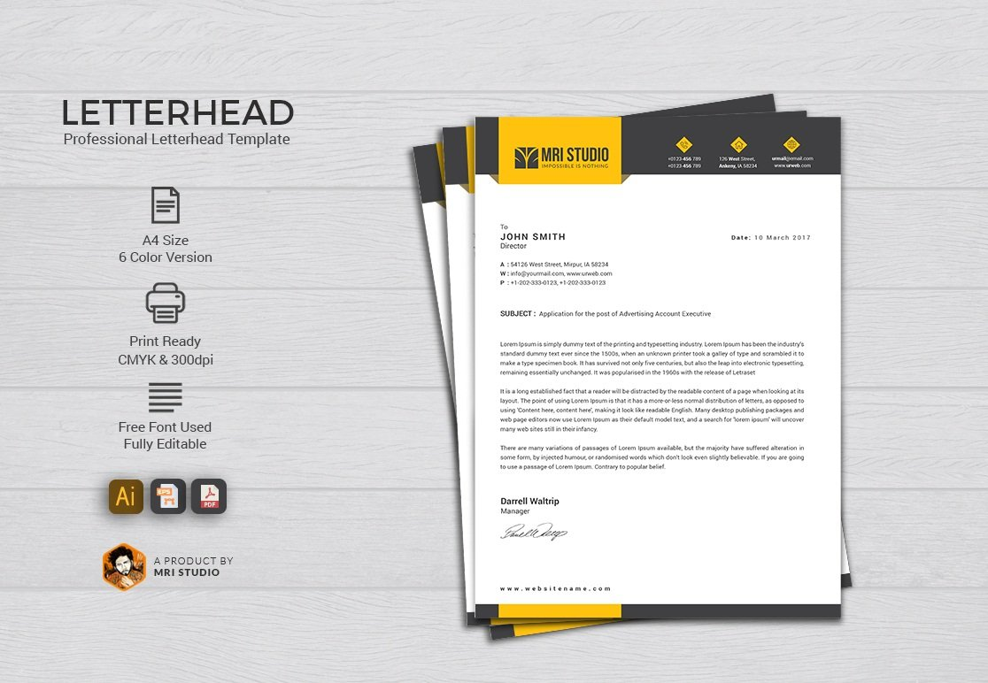 Letterhead template stationery templates creative market spiritdancerdesigns Image collections