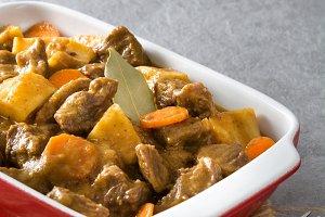 Beef meat stewed