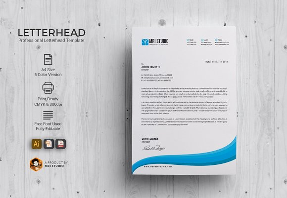 Professional Letterhead Stationery Templates Creative Market