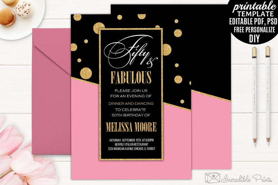 Pink and Gold Birthday Invitation | Creative Invitation Templates ...