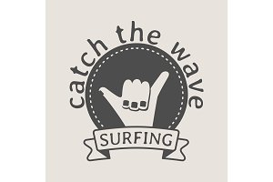 Surfing logo with shaka hand sign