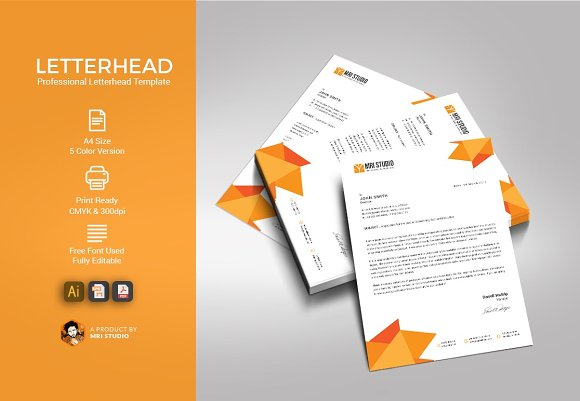 Creative letterhead template stationery templates creative market spiritdancerdesigns Images