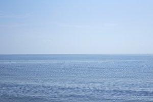 Blue sea waves and sky
