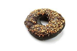 chocolate doughnut on white
