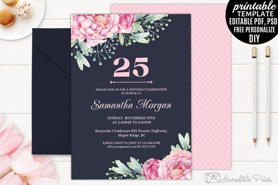 Navy And Pink Birthday Invitation