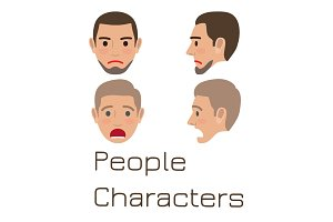 Man Emotive Faces Collection Flat Vector