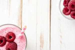 Raspberry smoothie in glass
