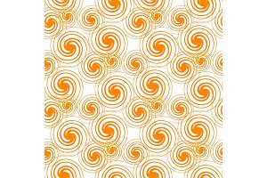 Seamless Pattern Orange Swirls Isolated on White