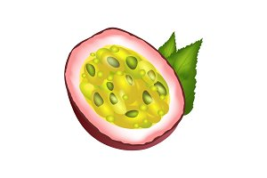 Juicy Passion Fruit Cut Part with Green Leaves