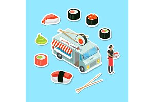 Japan Food Street Eatery in Isometric Projection