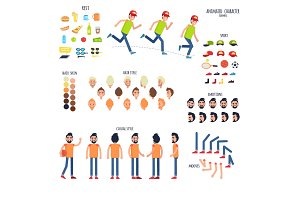 Character Set with Body Parts and Rest Things