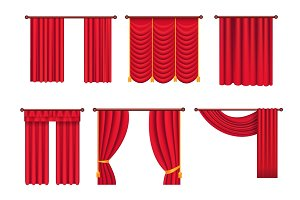 Red Drapes with Gold Tieback and Lambrequin Vector
