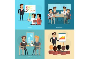 Business Meeting and Presentation Vector Poster
