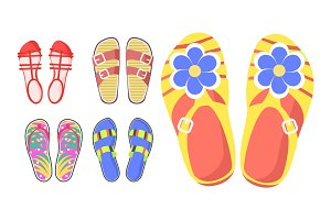 Set of Summer Shoes in Cartoon Style Flat Design