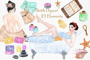 Watercolor SPA clipart