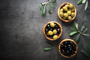 Black and green olives. Top view.