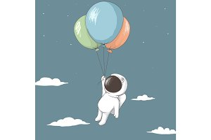 Little astronaut keeps to balloons