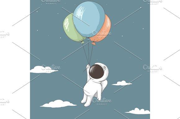 Little Astronaut Keeps To Balloons