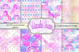 Watercolor Unicorn seamless patterns