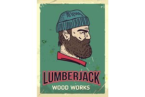 Grunge retro metal sign with lumberjack. Professional wood works. Head of woodcutter. Profile view. Vintage poster. Old fashioned design.