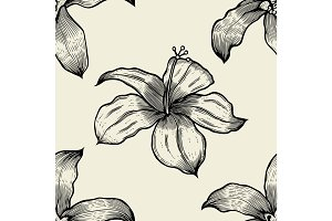 Seamless pattern with lilies . Vector freehand drawing
