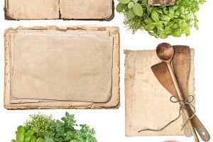 kitchen utensils and herbs