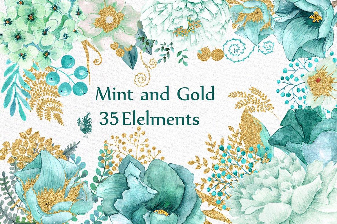 Gold Mint flowers clipart ~ Illustrations ~ Creative Market