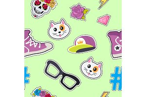 Seamless Pattern with Cap, Cat, Glasses, Thunder