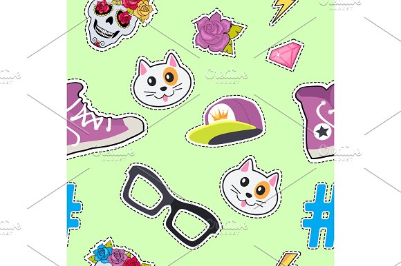 Seamless Pattern With Cap Cat Glasses Thunder