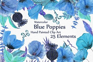 Watercolor Blue flowers clipart