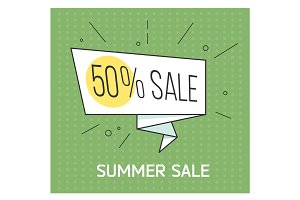 Summer sale banner. Big discount. Retro comic style. Vector illustration. Vintage bubble on the red background.