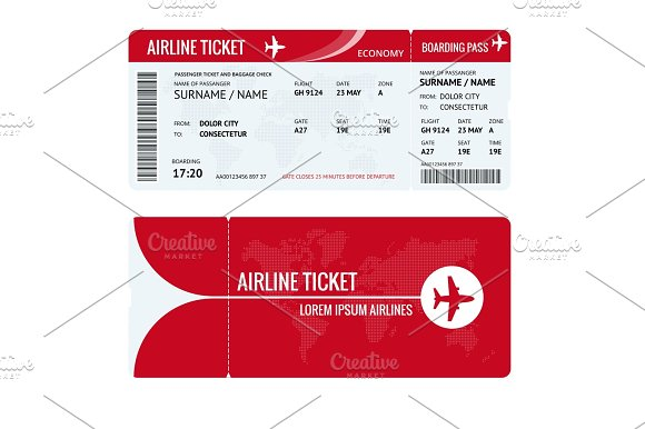 Airline Ticket Or Boarding Pass For Traveling By Plane Isolated On White Vector Illustration