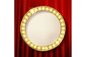Empty golden painting round frames