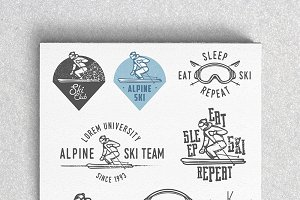Vintage alpine ski labels