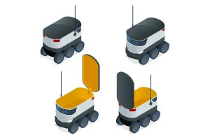 Isometric Robots Deliver Takeout Orders. It can carry up to 10 kilograms or three shopping bags and has a range of 10 miles. Flat vector illustration