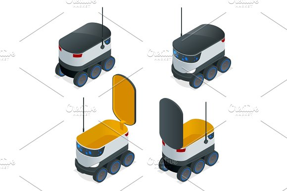 Isometric Robots Deliver Takeout Orders It Can Carry Up To 10 Kilograms Or Three Shopping Bags And Has A Range Of 10 Miles Flat Vector Illustration