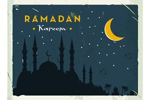 Ramadan Kareem retro banner. Grunge vintage style. Vector illustration. Old fashioned design.
